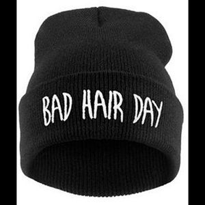 WINTER IS HERE Funny Trendy Bad Hair Day Beanie